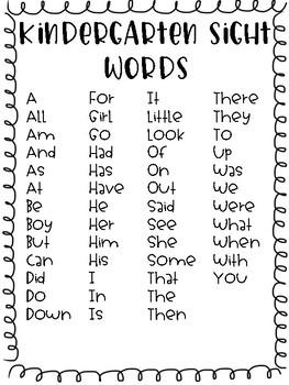 Open Court 2016 Kindergarten High Frequency Word List