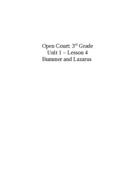 Open Court: 3rd Grade Unit 1 – Lesson 4 Bummer and Lazarus