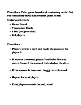 Open Court-Circles, Squares, and Daggers Vocabulary Game