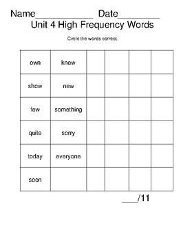 Open Court High Frequency Word 2nd Grade Fluency Checklists