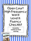 Open Court High Frequency Word  Kindergarten Fluency Checklists