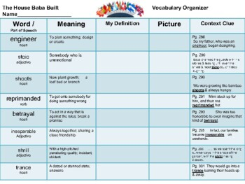 Open Court - McGraw Hill - U3W4 - The House Baba Built Vocabulary Organizer