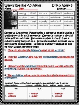 Open Court - McGraw Hill - U3W5 - Just 17 Syllables! Spelling Activity Sheet