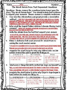Open Court - McGraw Hill - Unit 1 Week 4 - The Great Serum Race Text Dependent ?