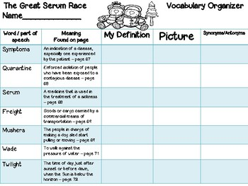 Open Court - McGraw Hill - Unit 1 Week 4 - The Great Serum Race Vocab. Organizer