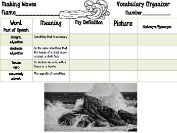 Open Court - McGraw Hill - Unit 2 Week 2 - Making Waves Vocabulary Organizer