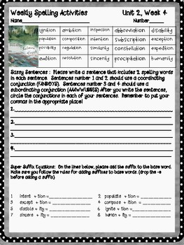 Open Court - McGraw Hill - Unit 2 Week 4 - Salmon Creek Spelling Activity Sheet