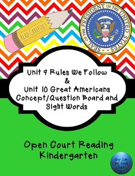 Kindergarten Open Court Reading C/Q Board and Sight Words for Unit 9 & 10