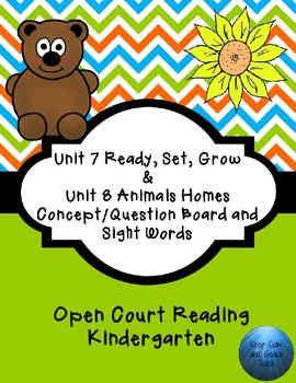 Kindergarten Open Court Reading Unit 7 & 8 C/Q Board and Sight Words