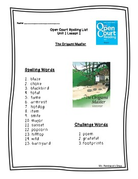 Open Court Unit 1 Lesson 1 - The Origami Master