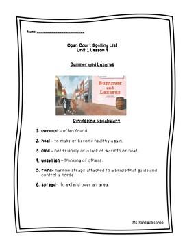 Open Court Unit 1 Lesson 4 - Bummer and Lazarus