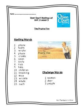 Open Court Unit 1 Lesson 5 - The Prairie Fire