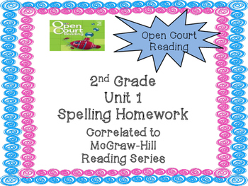 2nd Grade McGraw Hill Open Court Unit 1 Spelling Homework
