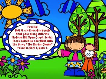 Open Court - Unit 1 Week 1 - The Marble Champ Lesson Plan Bundle