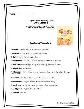 Open Court Unit 3 Lesson 5 - The Dancing Bird of Paradise