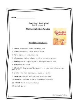 Open Court Unit 3 Lessons 1-6 Spelling and Vocabulary Bundle