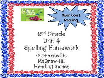 2nd Grade McGraw Hill Open Court Unit 4 Spelling Homework