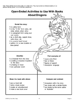 Open-Ended Activities to Use with Books About Dragons