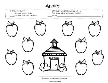 Open-Ended Apple Homework Sheet