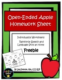 Open-Ended Apple Homework Sheet