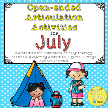 Open-Ended Articulation Activities for July (Summer and Camping Themed)