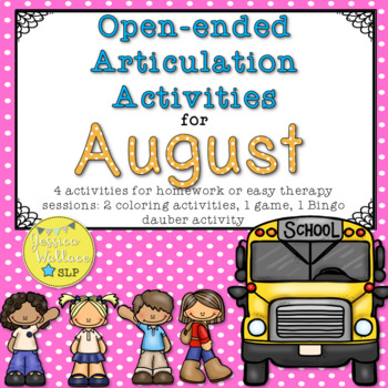 Open-Ended Articulation Homework for August - Back-to-School Themed