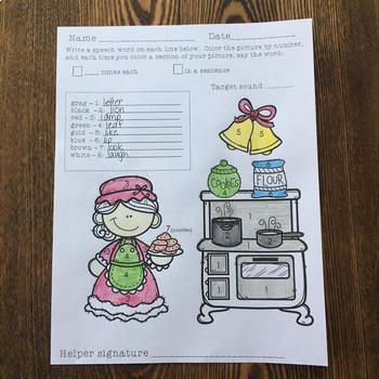 Open-Ended Articulation Homework for December (Christmas themed)