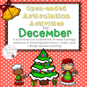 Open-Ended Articulation Homework for December (Christmas themed)