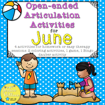 Open-Ended Articulation Homework for June (Summer and Pool Party-Themed)