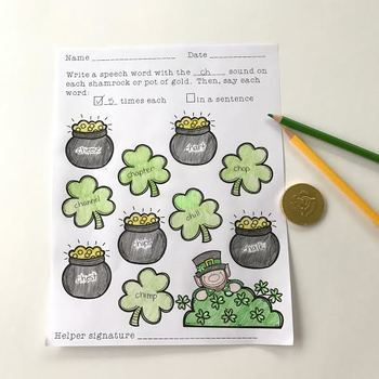 Open-Ended Articulation Homework for March (St. Patrick's Day & Spring Themed)