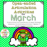 Open-Ended Articulation Homework for March (St. Patrick's