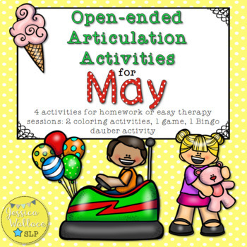 Open-Ended Articulation Homework for May (End-of-Year and Carnival Themed)