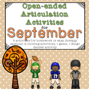 Open-Ended Articulation Homework for September (football and fall themed)