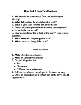 Open Ended Book Talk Questions and Novel Activities