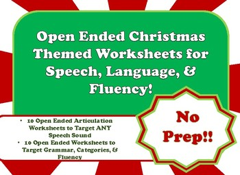 Open Ended Christmas Themed Speech Language And Fluency Worksheets