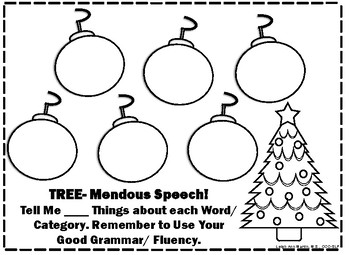 Open Ended Christmas Themed Speech, Language, and Fluency Worksheets