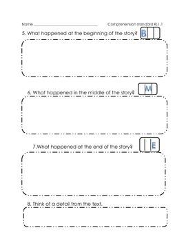Open Ended Comprehension Worksheet