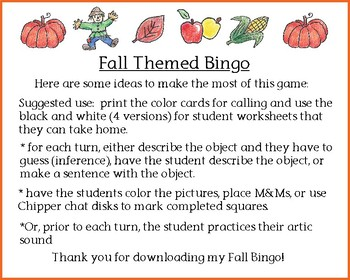 Open Ended Cute Fall Themed Bingo Pumpkins Halloween Color & Black White