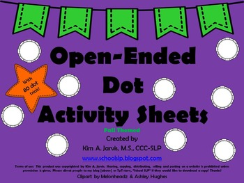 Open-Ended Dot Activity Sheets: Fall
