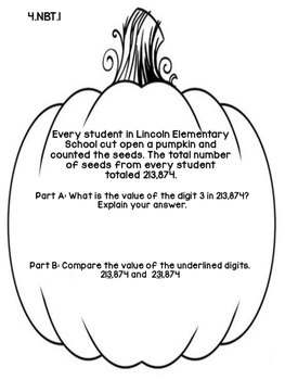 4th Grade Common Core Open Ended Autumn Math Assessment