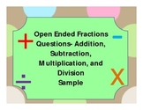Math Journal Open Ended Fractions Questions- Sample
