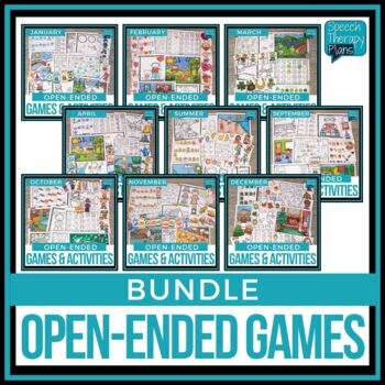 Monthly Open Ended Speech & Language Games - BUNDLE
