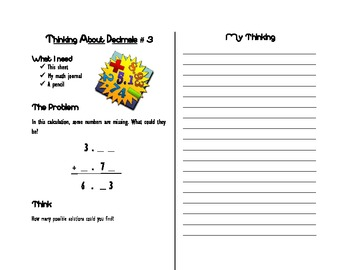 Open-Ended Math Journal Prompts: Decimals (Common Core Grades 4-6)