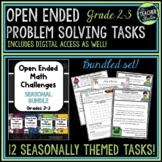 Open Ended Math Problem Solving Tasks Grade 2-3 BUNDLE | Distance Learning