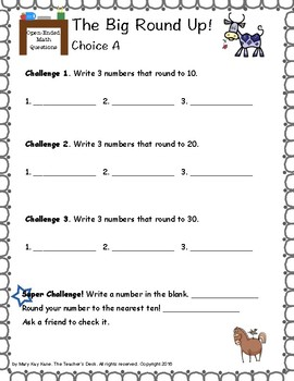 Open-Ended Math Questions Grades 2-3 Evens &amp- Odds, Rounding | TpT