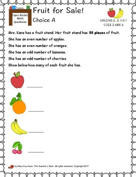 Open-Ended Math Questions Grades 2-3, Measurement, Ordinals, Evens and Odds