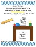 Open-Ended Math Questions Grades 2-3, Measurement, Ordinal