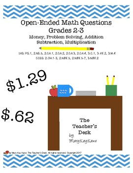 Open-Ended Math Questions Grades 2-3, Money, Problem Solving, Add & Subtract