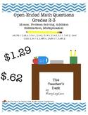 Open-Ended Math Questions Grades 2-3, Money, Problem Solvi