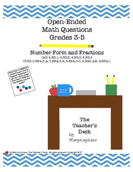 Open-Ended Math Questions, Grades 3-5: Number Forms & Fractions